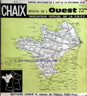 CHAIX REGION OUEST INDICATEUR SNCF no: 03/06/1973