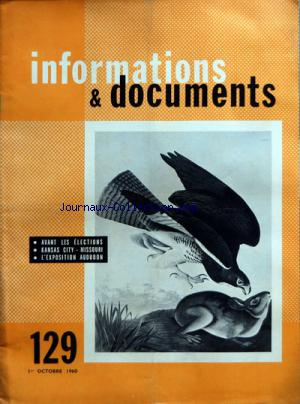 INFORMATIONS E DOCUMENTS no:129 01/10/1960