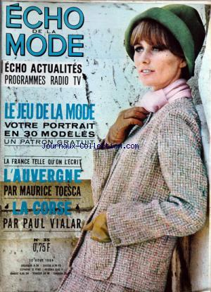 ECHO DE LA MODE ECHO ACTUALITES no:35 30/08/1964