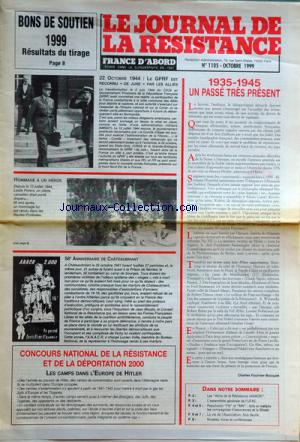 JOURNAL DE LA RESISTANCE no:1105 30/10/1999