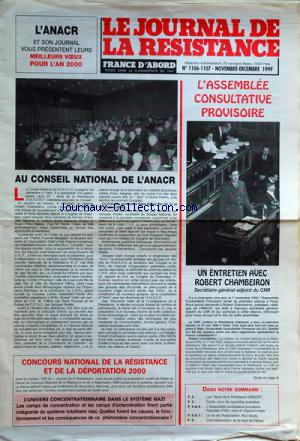 JOURNAL DE LA RESISTANCE no:1106-1107 30/11/1999