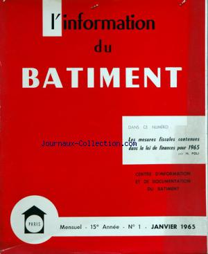 INFORMATION DU BATIMENT (L') no:1 31/01/1965