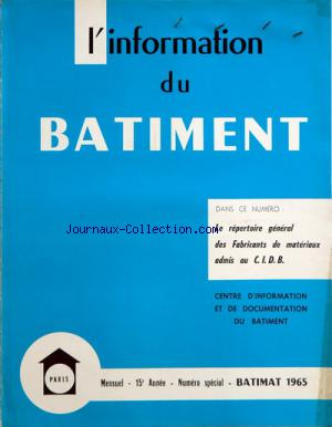 INFORMATION DU BATIMENT (L') no: