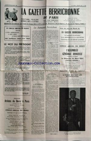 GAZETTE BERRICHONNE DE PARIS(LA) no:95 01/01/1984