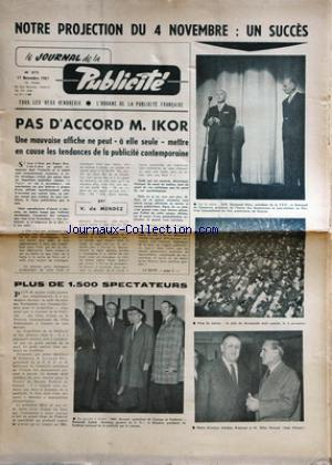 JOURNAL DE LA PUBLICITE (LE) no:372 17/11/1961