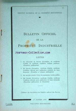 BULLETIN OFFICIEL DE LA PROPRIETE INSDUSTRIELLE no:3 17/01/1975