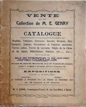 VENTE DE LA COLLECTION DE GENAY no: 21/11/1913