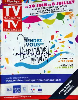 TV MAGAZINE LA NOUVELLE REPUBLIQUE no: 20/06/2009