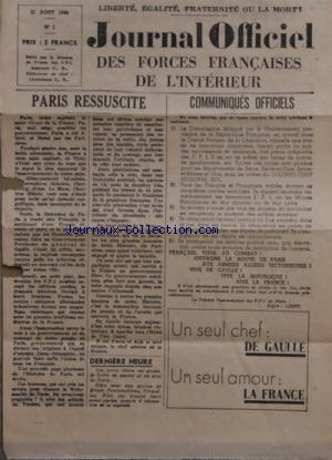 JOURNAL OFFICIEL DES FORCES FRANCAISES DE L'INTERIEUR no:1 21/08/1944