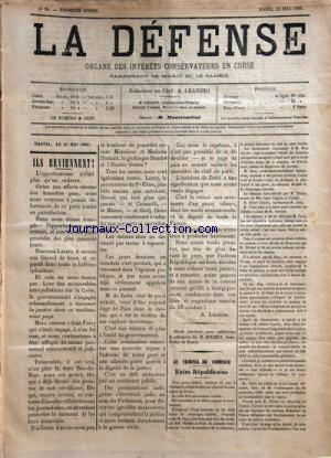 DEFENSE   JOURNAL CORSE  (LA) no:5 25/05/1886