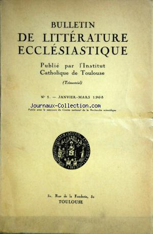 BULLETIN DE LITTERATURE ECCLESIASTIQUE no:1 01/01/1968