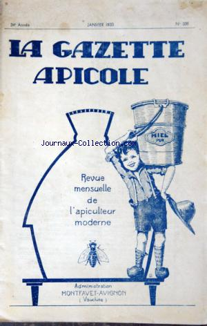 GAZETTE APICOLE (LA) no:338 01/01/1933