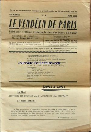 VENDEEN DE PARIS (LE) no:8 01/05/1962
