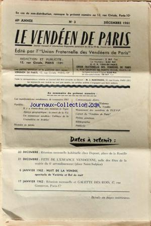 VENDEEN DE PARIS (LE) no:3 01/12/1961