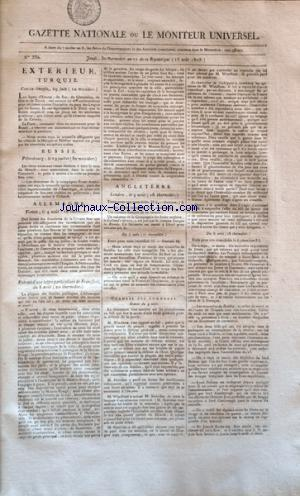 GAZETTE NATIONALE OU LE MONITEUR UNIVERSEL no:330 18/08/1803