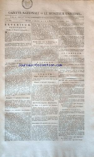 GAZETTE NATIONALE OU LE MONITEUR UNIVERSEL no:357 14/09/1803