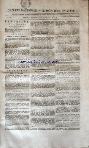 GAZETTE NATIONALE OU LE MONITEUR UNIVERSEL no:184 25/03/1804
