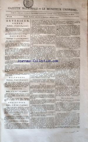 GAZETTE NATIONALE OU LE MONITEUR UNIVERSEL no:218 28/04/1804