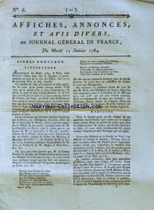 JOURNAL GENERAL DE FRANCE no:6 13/01/1784