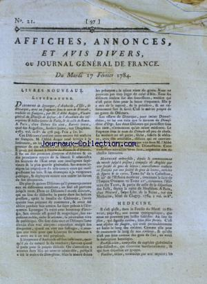 JOURNAL GENERAL DE FRANCE no:21 17/02/1784