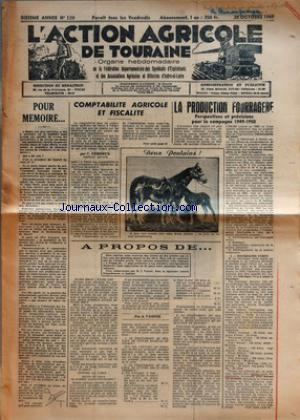 ACTION AGRICOLE DE TOURAINE (L') no:139 28/10/1949