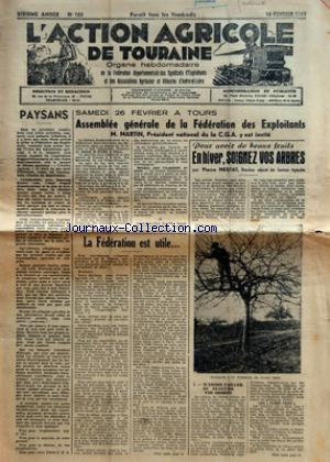 ACTION AGRICOLE DE TOURAINE (L') no:103 18/02/1949