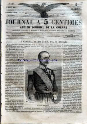 JOURNAL A 5 CENTIMES no:22 10/08/1859