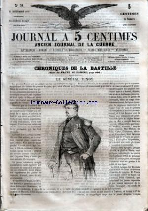 JOURNAL A 5 CENTIMES no:34 21/09/1859