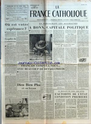 FRANCE CATHOLIQUE (LA) no:387 30/04/1954