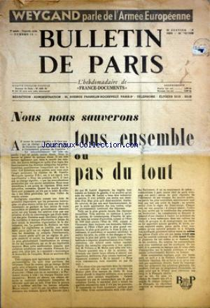 BULLETIN DE PARIS no:15 22/01/1954