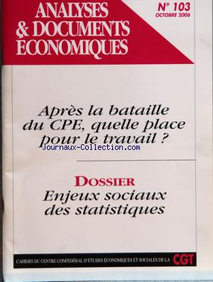 ANALYSES DOCUMENTS ECONOMIQUES no:103 01/10/2006