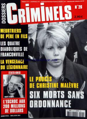 DOSSIERS CRIMINELS no:26 01/05/2003