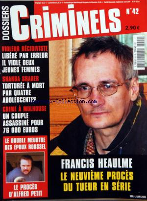 DOSSIERS CRIMINELS no:42 01/05/2005