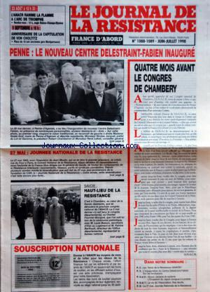 JOURNAL DE LA RESISTANCE (LE) no:1088-1089 01/06/1998