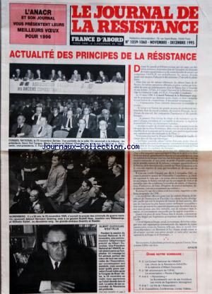 JOURNAL DE LA RESISTANCE (LE) no:1059-1060 01/11/1995