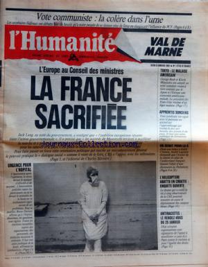 HUMANITE VAL DE MARNE (L') no:14743 09/01/1992