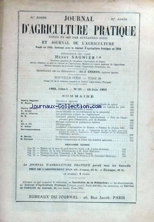 JOURNAL D'AGRICULTURE PRATIQUE no:25 23/06/1923