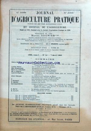 JOURNAL D'AGRICULTURE PRATIQUE no:14 07/04/1923