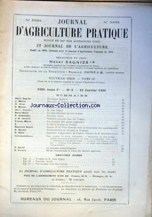 JOURNAL D'AGRICULTURE PRATIQUE no:3 15/01/1920