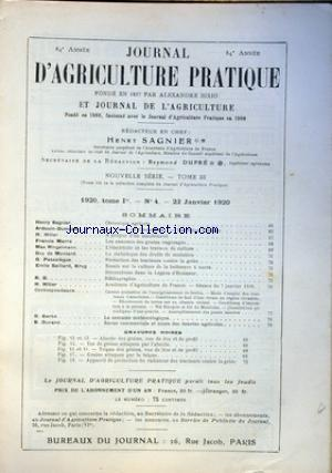 JOURNAL D'AGRICULTURE PRATIQUE no:4 22/01/1920