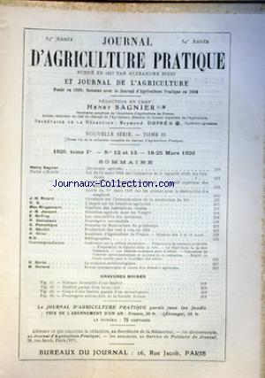 JOURNAL D'AGRICULTURE PRATIQUE no:12 18/03/1920