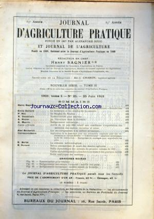 JOURNAL D'AGRICULTURE PRATIQUE no:25 25/06/1921