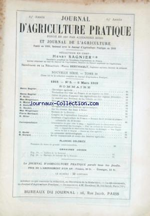 JOURNAL D'AGRICULTURE PRATIQUE no:5 06/03/1919