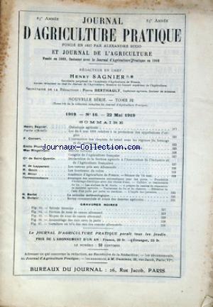JOURNAL D'AGRICULTURE PRATIQUE no:16 22/05/1919