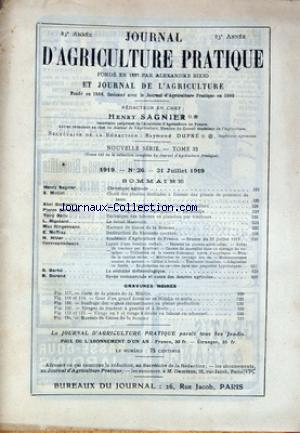 JOURNAL D'AGRICULTURE PRATIQUE no:26 31/07/1919