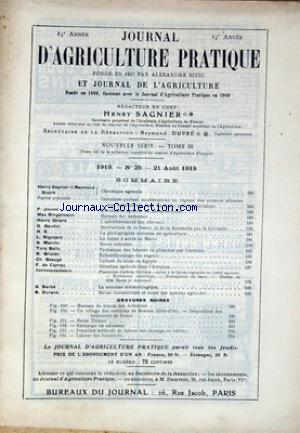 JOURNAL D'AGRICULTURE PRATIQUE no:29 21/08/1919