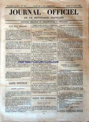 JOURNAL OFFICIEL DE LA REPUBLIQUE FRANÇAISE no:101 11/04/1871
