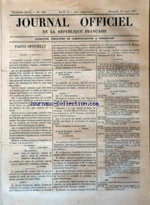 JOURNAL OFFICIEL DE LA REPUBLIQUE FRANÇAISE no:109 19/04/1871
