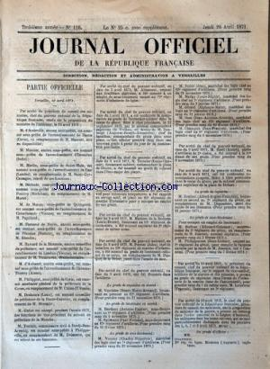 JOURNAL OFFICIEL DE LA REPUBLIQUE FRANÇAISE no:110 20/04/1871