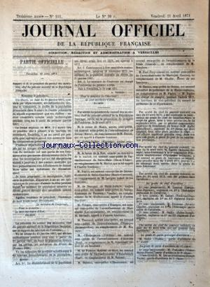 JOURNAL OFFICIEL DE LA REPUBLIQUE FRANÇAISE no:111 21/04/1871